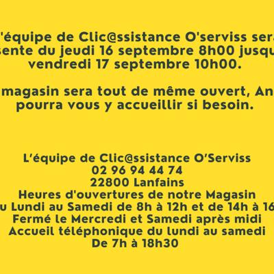 L''équipe de Clic@ssistance O''serviss sera absente